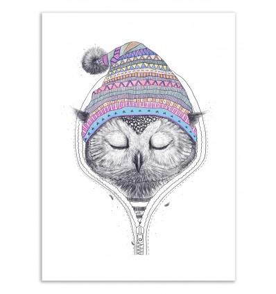 Art-Poster 50 x 70 cm - Owl in a hood - Valeriya Korenkova