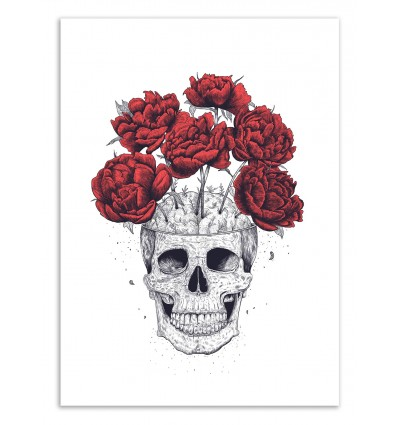Art-Poster 50 x 70 cm - Skull with peonies - Valeriya Korenkova