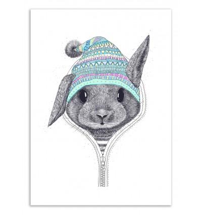 Art-Poster 50 x 70 cm - The Rabbit in a hood - Valeriya Korenkova