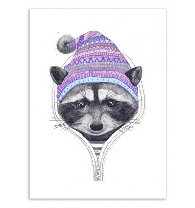 Art-Poster 50 x 70 cm - The Raccoon in a hood - Valeriya Korenkova