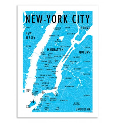Art-Poster 50 x 70 cm - Carte New-York City - Olivier Bourdereau
