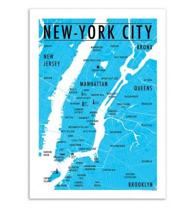 Art-Poster - Carte New-York City - Olivier Bourdereau