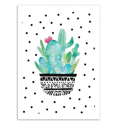 Art-Poster 50 x 70 cm - Pot me a cacti dots - Amaya Brydon