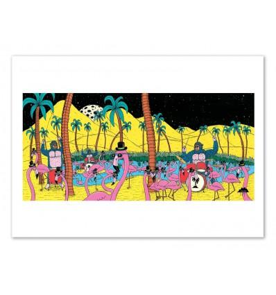 Art-Poster 50 x 70 cm - Gorillas and flamingos - Mulga
