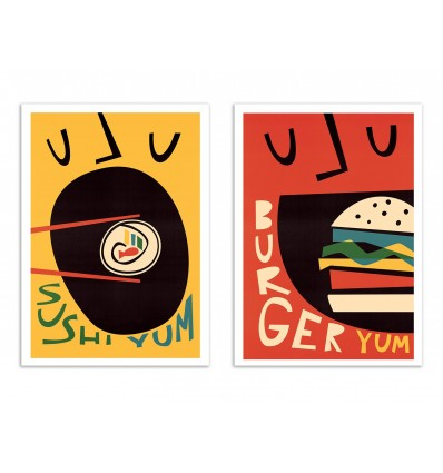 2 Art-Posters 30 x 40 cm - Sushi and Burger - Fox and Velvet