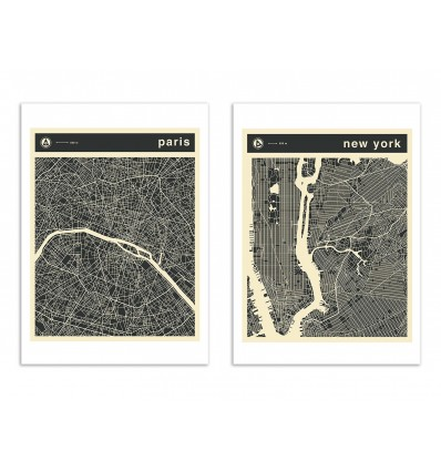 2 Art-Posters 30 x 40 cm - Duo Paris and New-York - Jazzberry Blue