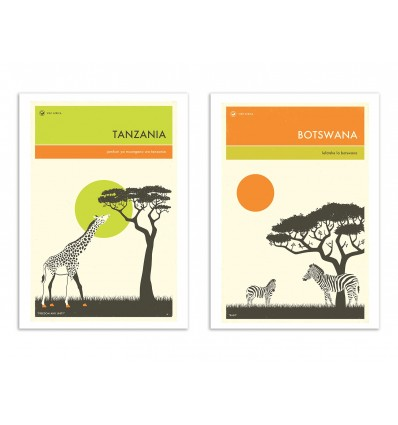 2 Art-Posters 30 x 40 cm - Duo Botswana and Tanzania - Jazzberry Blue