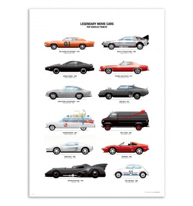 Art-Poster - Legendary Movie Cars - Olivier Bourdereau