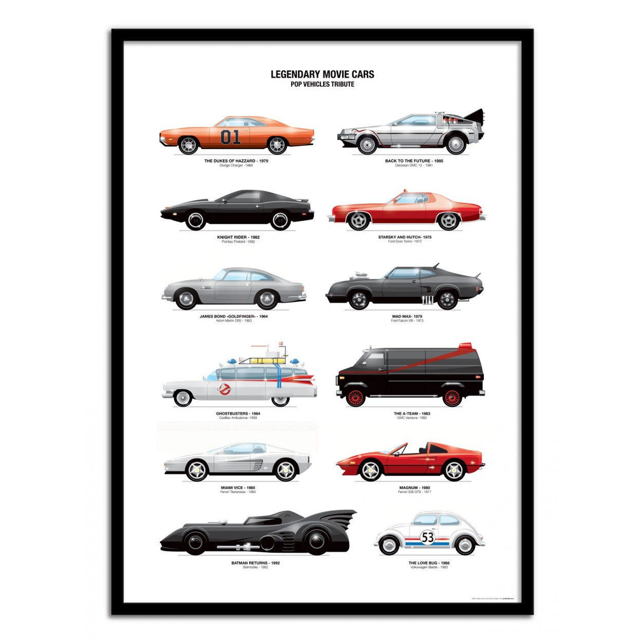 ... Art Poster 50 X 70 Cm   Legendary Movie Cars   Olivier Bourdereau ...