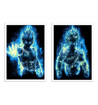 2 Art-Posters 30 x 40 cm - Duo God Goku and Vegeta - Barrett Biggers