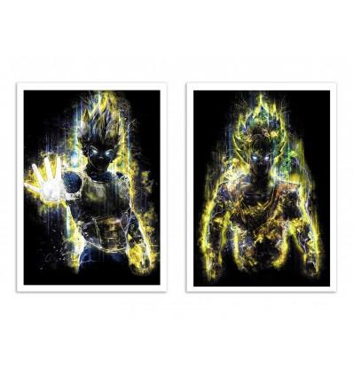 2 Art-Posters 30 x 40 cm - Duo S S Goku and Vegeta - Barrett Biggers