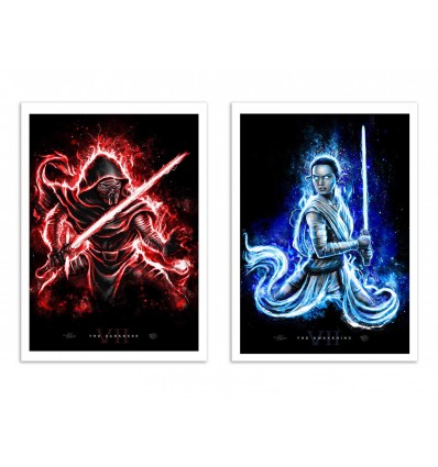 2 Art-Posters 30 x 40 cm - Duo Kylo Ren and Rey - Barrett Biggers
