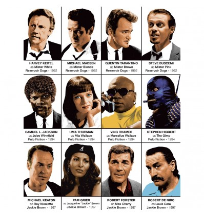 Art-Poster - Quentin Tarantino characters - Olivier Bourdereau