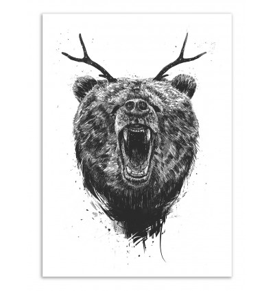 Art-Poster - Angry bear with antlers - Balazs Solti