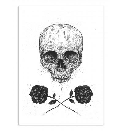 Art-Poster - Skull N Roses - Balazs Solti