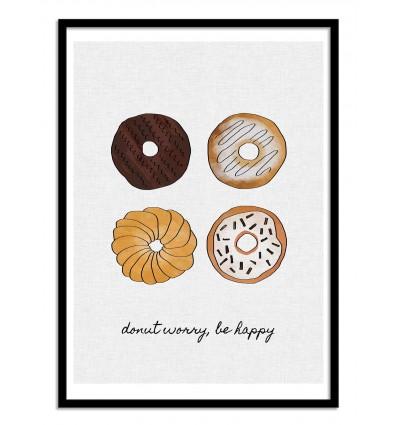 Art-Poster - Donut worry, be happy - Orara Studio