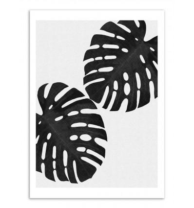 Art-Poster - Monstera leaf Black and white - Orara Studio