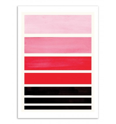 Art-Poster - Red Staggered stripes - Ejaaz Haniff