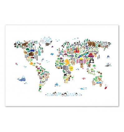 Art-Poster - Animal World map - Michael Tompsett