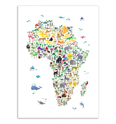 Art-Poster - Animal map of Africa - Michael Tompsett