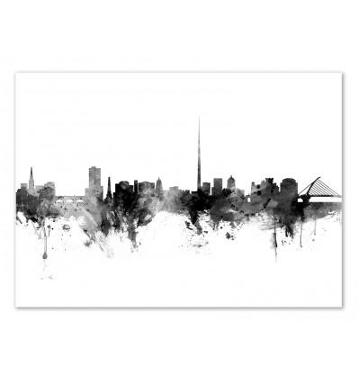 Art-Poster - Dublin Ireland Skyline - Michael Tompsett