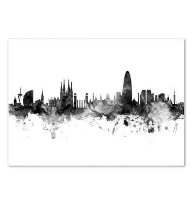 Art-Poster - Barcelona Spain Skyline - Michael Tompsett