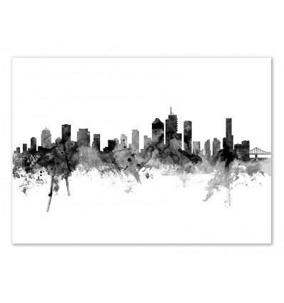 Art-Poster - Brisbane Australia Skyline - Michael Tompsett