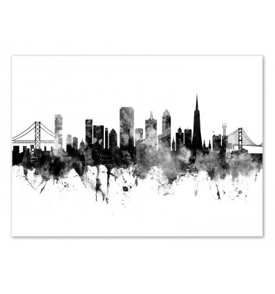 Art-Poster - San Francisco California Skyline - Michael Tompsett