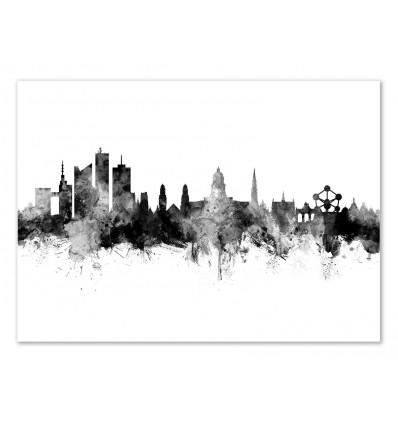 Art-Poster - Brussels Belgium Skyline - Michael Tompsett
