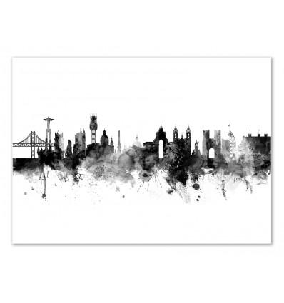 Art-Poster - Lisbon Portugal Skyline - Michael Tompsett