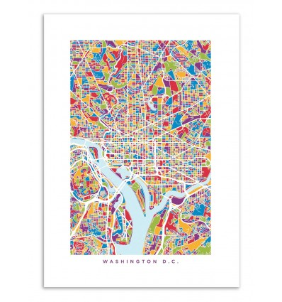 Art-Poster - Washington DC Colored Map - Michael Tompsett