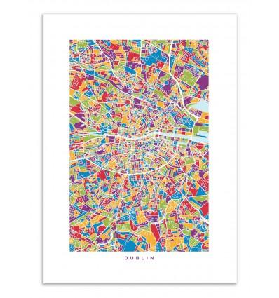 Art-Poster - Dublin colored map - Michael Tompsett