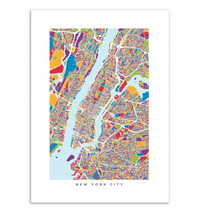 Art-Poster - New-York Colored Map - Michael Tompsett