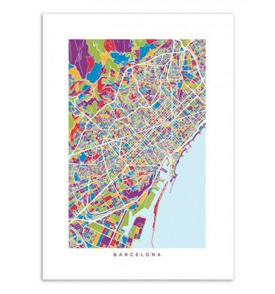 Art-Poster - Barcelona colored map - Michael Tompsett