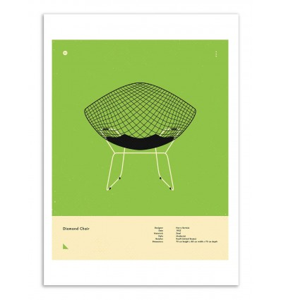 Art-Poster - Diamond chair - Jazzberry Blue