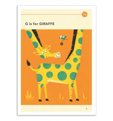Art-Poster - G is for Giraffe - Jazzberry Blue
