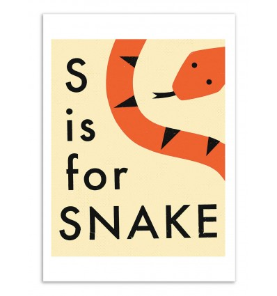 Art-Poster - S is for Snake Version 2 - Jazzberry Blue