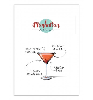 Art-Poster - Manhattan Cocktail Recipe - Roumio Oska