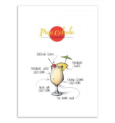 Art-Poster - Pina Colada Cocktail Recipe - Roumio Oska