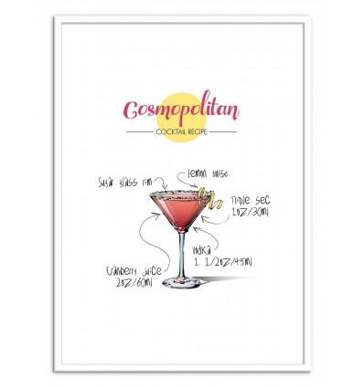 Art-Poster - Cosmopolitan Cocktail Recipe - Roumio Oska