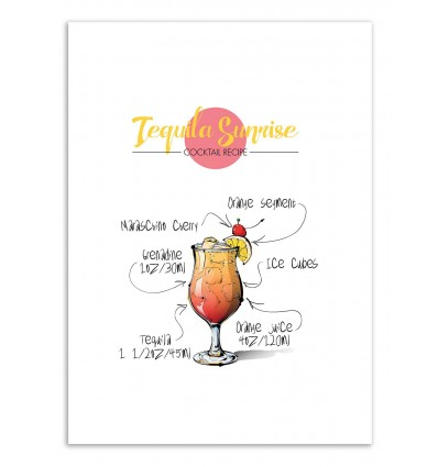 Art-Poster - Tequila Sunrise Cocktail Recipe - Roumio Oska