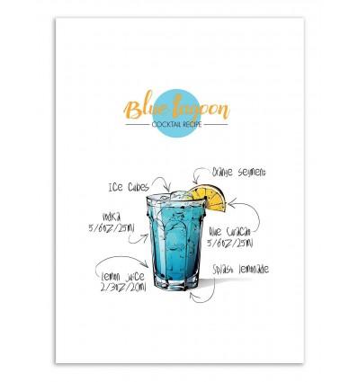 Art-Poster - Blue lagoon Cocktail Recipe - Roumio Oska