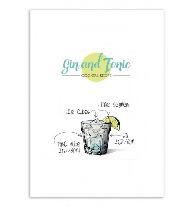Art-Poster - Gin and Tonic Cocktail Recipe - Roumio Oska