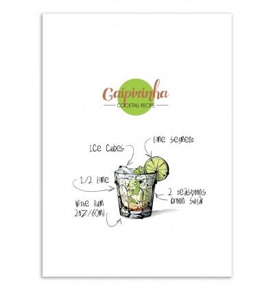 Art-Poster - Caipirinha Cocktail Recipe - Roumio Oska