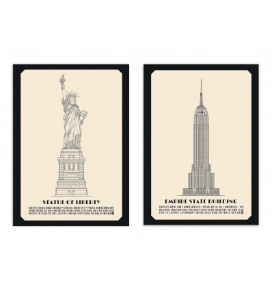 2 Art-Posters 30 x 40 cm - Duo American monuments - Lionel Darian