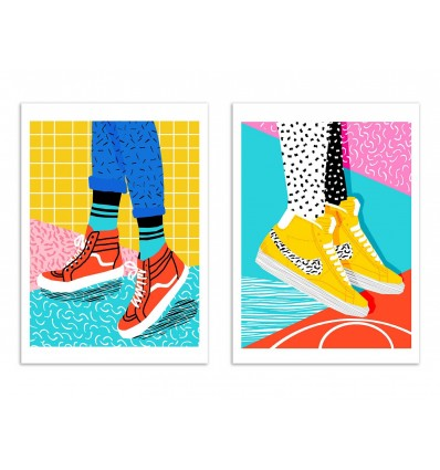 2 Art-Posters 30 x 40 cm - Duo sneakers - Wacka