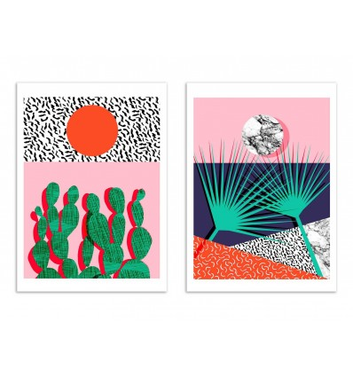 2 Art-Posters 30 x 40 cm - Duo head rush and spazz - Wacka