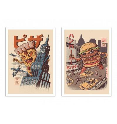 2 Art-Posters 30 x 40 cm - burgerzilla and Pizza kong - Ilustrata