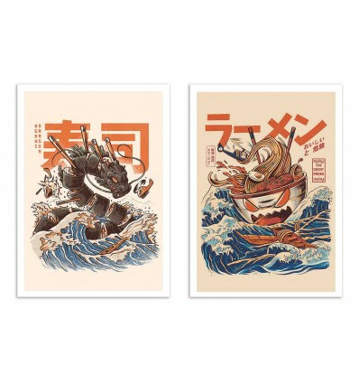 2 Art-Posters 30 x 40 cm - Ramen and sushi dragon - Ilustrata