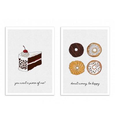 2 Art-Posters 30 x 40 cm - Duo donut and cake - Orara Studio